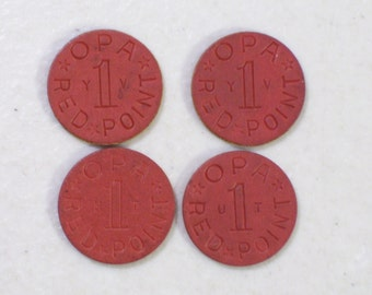 Lot of 4 Red 1 Point Opa Tokens, 1940's, Food Tokens, Antique
