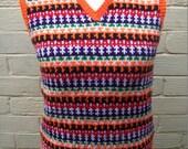 Custom Order for Chrisgately - Hand Knit Fairisle Tank Vest Top like Paul McCartney in Magical Mystery Tour, ClickClackKnits