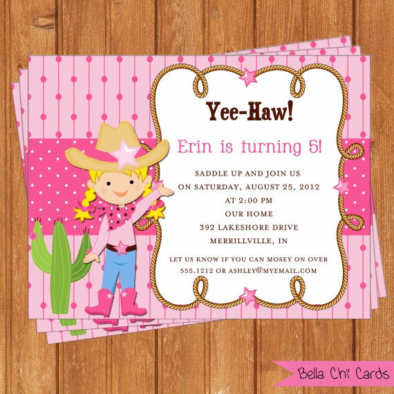Cowgirl invitation kids birthday printable editable digital pdf file instant download for Editable birthday cards