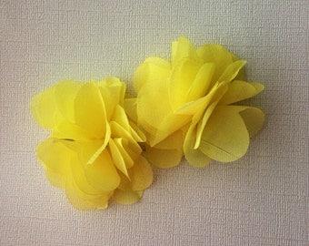 Bright yellow chiffon hair clips