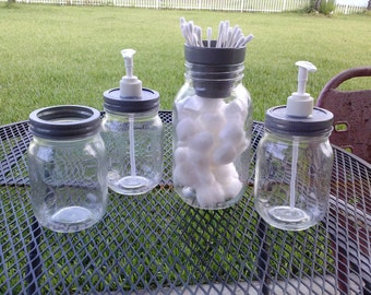 BATHROOM SET - Cotton - Q-Tip - Soap Dispensers - Toothbrush - Mason Jars - Clear with Gray