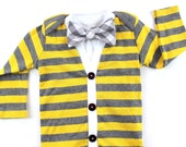 SALE - Yellow Baby Cardigan and Bow Tie Set - Grey Gingham Bow Tie