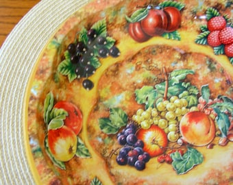 Daher England 1971 Tin Floral & Fruit Autumn Tray