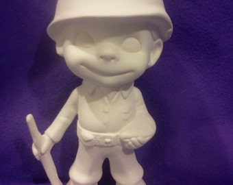 """Atlantic 9""""  Military Smiley ready to paint ceramic bisque"""