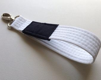White Brazilian Jiu Jitsu belt wrist key chain fob lanyard BJJ Judo