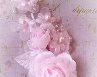 Pink Silk flower Pearl Spray