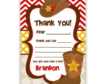 Cowboy Thank You Card - Red Chevron, Polka Dots, Boys Cowboy Hat and Boots Personalized Birthday Party Thank You - a Digital Printable File