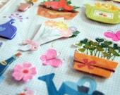 3D sticker set garden