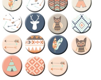 "15 Arrow owl Tipi  Tribal Pattern  1"" FLAT back Or PIN back buttons"