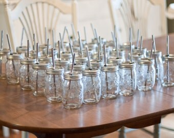 1 Dozen (12) Mason Jar To Go Cup With Stainless Steel Straw 16oz Eco Friendly
