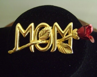 Gold tone Mom with Rose Brooch