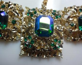 CORO Filigree Peacock Blue Green Rhinestone Necklace and Earrings Demi Parure Set
