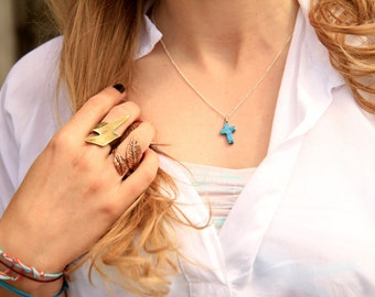 turquoise cross necklace 18'' / 22''