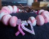 Breast Cancer Polymer Clay Beaded Bracelet