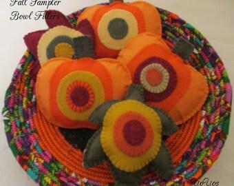 FALL SAMPLER Felt Leaves and Pumpkins Bowl FillersTucks Home Country Cabin Cottage Rv Dorm Holiday Décor Hostess Gift