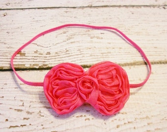 Chiffon Bow Headband-Newborn to Adult-Shocking Pink