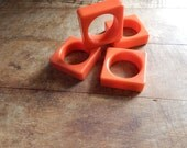 SALE!!! Set of 4 Plastic Orange Square Napkin Rings