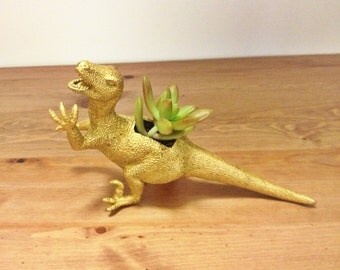 Plantasaurus // Gold Dinosaur Planter