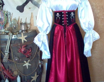 Satin Pirate Cincher Costume. Plus sizes available.