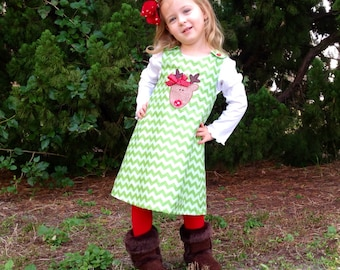 Girls Christmas dress - baby girl Christmas outfit - Green Chevron Rudolph reindeer dress - baby girl monogram