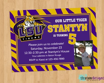 LSU Purple Gold Birthday Invitation Printable