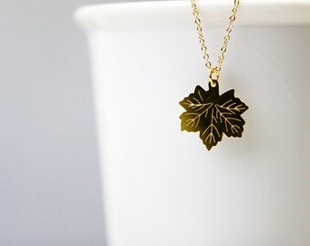 Leaf Necklace, Gold Stainless Steel, Diamond Cut Dainty Gold Plated Chain, Delicate, Wedding Gifts, Bridal Jewelry, Personalized Jewelry