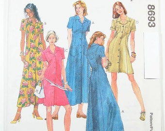 Sz 10/12/14 - McCalls Dress Pattern 8693 - Misses' One-Piece Dress in Two Lengths