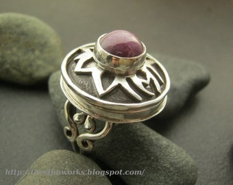 Large star ruby ring, round hollow stash ring, sterling silver filigree band, rose purple pink stone, statement ring, size 9.5 fits size 10