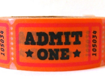 """SALE Washi Tape """"ADMIT ONE"""" 15mm x 10 Meters"""