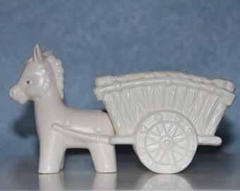 Napco Donkey Pulling Cart Planter - Burro Mule - Collectible Napcoware - Napco Ceramic - Catchall - Airplant Anchor