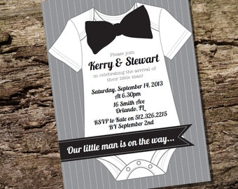 Little Man Baby Shower Invitation for a Boy - Instantly Downloadable and Editable File - Personalize at home with Adobe Reader