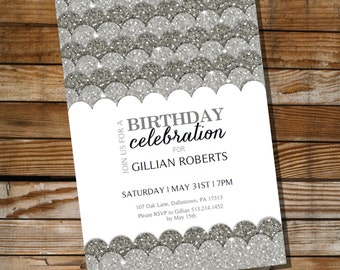 Silver Glitter Birthday Invitation - 30th 40th 50th 60th birthday invitation - Instant Download and Edit File with Adobe Reader