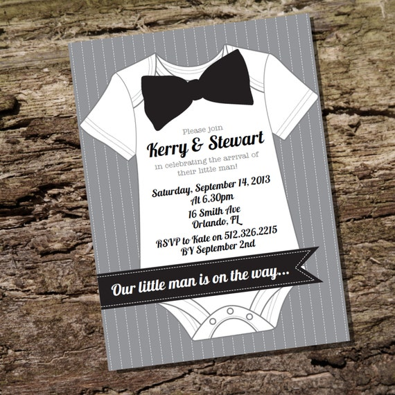 Little Man Baby Shower Invitation for a Boy  Instantly Downloadable