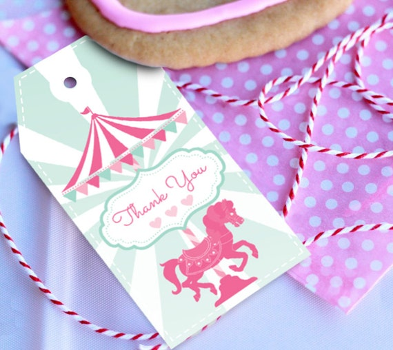 Carousel Party - Thank you/Favor Tags - Instantly Downloadable File