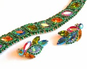 On Hold for MARY..Dazzling Vintage bracelet and earring Demi Parure set with fabulous multicolor Marquise and round cut rhinestones