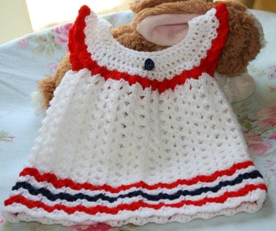 White crochet shell baby dress 0 3 month Newborn baby girl