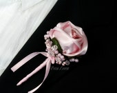 Pink Rose Boutonniere, Pink Rose Wedding Buttonhole, Pink Wedding Accessories
