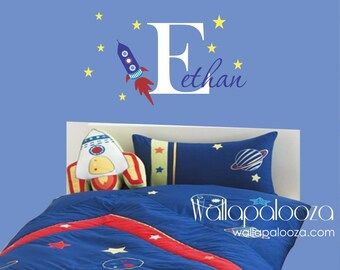 Rocket Wall Decal with Name, Boys room wall decal, spaceship wall decal