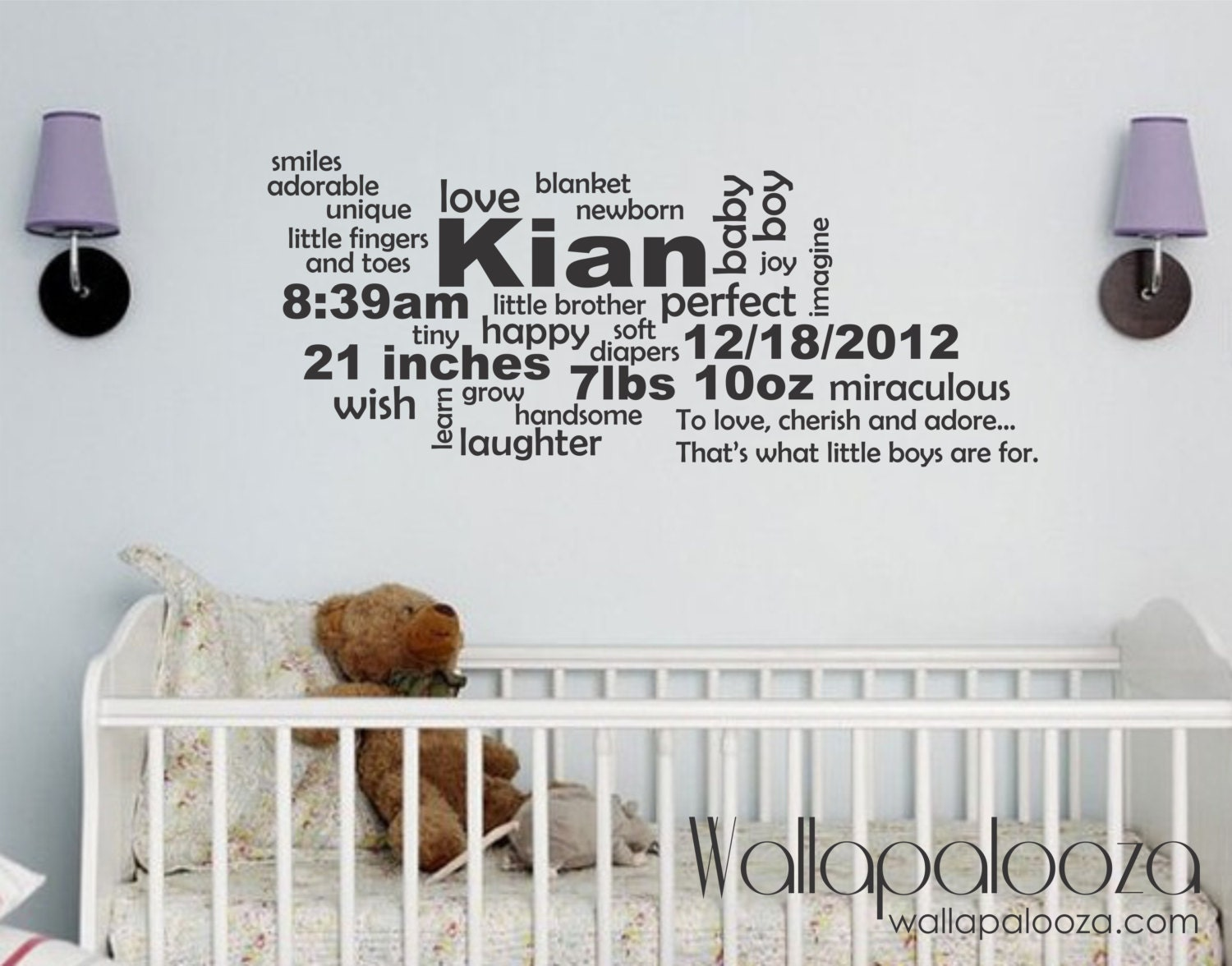 baby announcement wall decal birth announcement subway art zoom