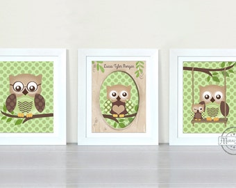 Owl Nursery Decor - Owl Prints Nursery wall art ,Set of three Prints, Boys Woodland Owl Nursery Art