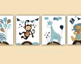 Nursery decor, nursery art, boys room art, kids room wall art, Monkey, Lion, Giraffe, Elephant, Set of 4 prints  - Carnival Fun