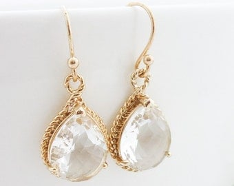 Wedding Jewelry Bridesmaid Gift Bridal Jewelry Bridesmaid Jewelry Clear Crystal Earrings Gold Trimmed Teardrop Earrings Dangle Earrings