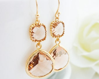 Bridesmaid Gift Wedding Jewelry Bridesmaid Jewelry Bridal Jewelry Champagne Gold Drop Earrings Peach Glass Dangle Earrings Framed Stone