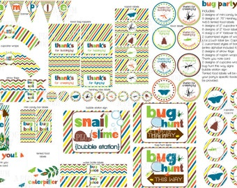Insect/Bug Party Pack Decorations (DIY, Printable, Customizable) Banner, Labels, cupcake Toppers, Printables, etc.