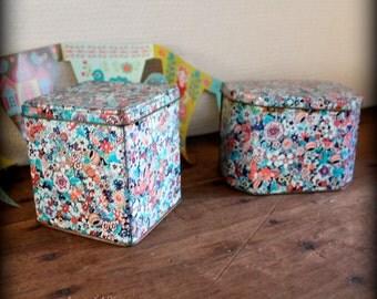 set floral tins- mid century tin- romantic vintage- romantic gift- box- shabby chic decor- tin boxes-  vintage tea