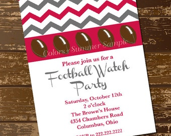 Red and Gray Football Invitation, Chevron, Watch Party, Tailgate, Birthday Invite, Open House, House Warming - Digital File