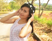 White flower with green Pip Flower Crown and Flower Wreath for Wedding and Photoshoot