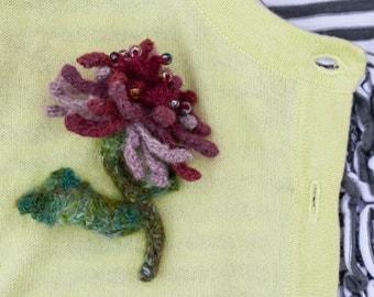 Cranberry Felted Flower Brooch