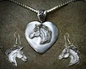 Arabian Horse Heart Pendant & Earring Set
