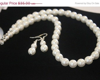NECKLACE & Earrings - Pearl Jewelry Set, Bridesmaids Jewelry